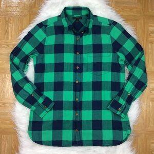 J. Crew Tops - J. CREW Shrunken Boy Shirt Emerald Buffalo Check
